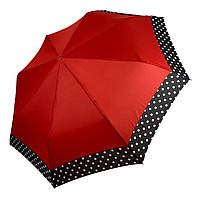 Жіночий парасольку-напівавтомат на 8 спиць з малюнком гороху, від SL, червоний, 7009-4