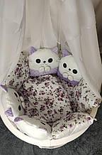 Комплект сменного постельного белья Котики. Балдахин, бант, подушка, простынь, защита и тд. Сиреневый