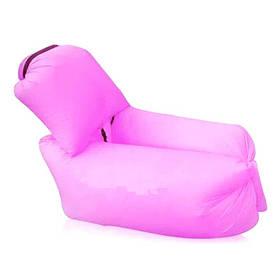 Надувной диван матрас мешок Ламзак с подушкой Розовый 184750