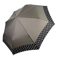 Жіночий парасольку-напівавтомат на 8 спиць з малюнком гороху, від SL, сірий, 7009-5