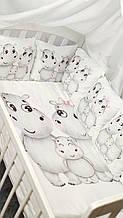 Комплект сменного постельного белья. Балдахин, бант, подушка, простынь, защита-подушки 12 штук. Бегемотики