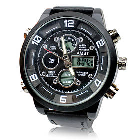 Кварцевые армейские наручные часы Amst watch AM3022 черные 149530