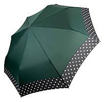 Жіночий парасольку-напівавтомат на 8 спиць з малюнком гороху, від SL, зелений, 7009-6