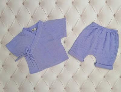 Детский костюмчик  для новорожденного муслин Голубой