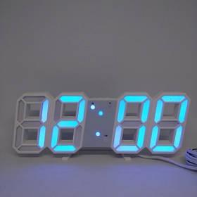 Електронні настільні годинники з великими цифрами LY 1089 S з будильником, термометром і Led підсвічуванням блакитний