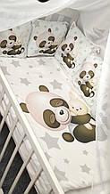 Комплект сменного постельного белья. Балдахин, бант, подушка, простынь, защита-подушки 12 штук. Мишка