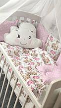 Комплект сменного постельного белья Облако. Балдахин, бант, подушка, простынь, защита-подушки 12 штук.