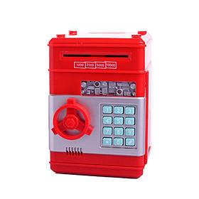 Скарбничка Сейф Ukc електронна з кодовим замком для паперових грошей і монет Червона 183815