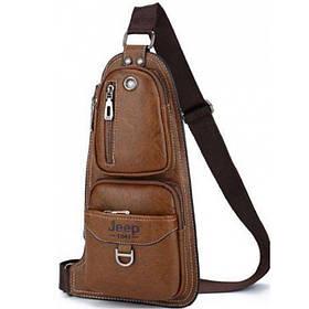 Сумка рюкзак через плечо мужская Jeep Bags 777 темно коричневая 151036