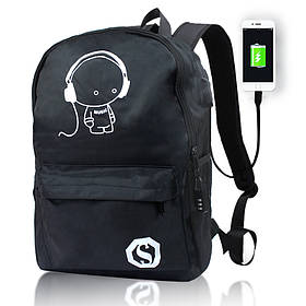 Городской рюкзак с кодовым замком и Usb 20л черный Music 154074