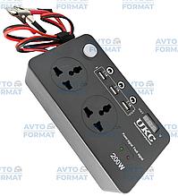 Перетворювач UKC авто інвертор 12В-220В 200W з екраном (3 USB, 2 розетки, 3 порти 5.5х2.5)