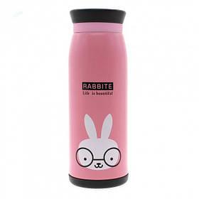 Детский термос нержавеющая сталь Мультяшки Розовый Rabbit 182466