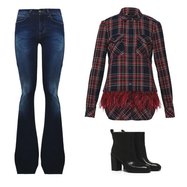 Liu Jo расклешенные джинсы с завышенной талией, рубашка в клетку с перьями, полусапожки Coline