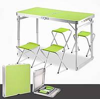 Посилений зручний розкладний стіл для пікніка та 4 стільця, салатовий