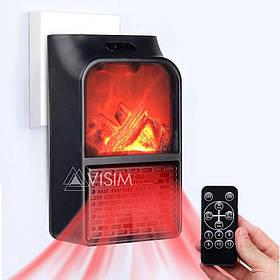 Портативний міні електрообігрівач імітація каміна з пультом Flame Heater 500 Вт Чорний 152668