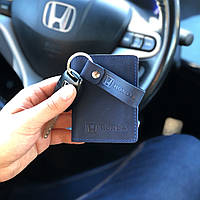 Кардхолдер Theo, Кожаная бложка для прав и техпаспорта. Из натуральной кожи, синяя. с логотипом авто