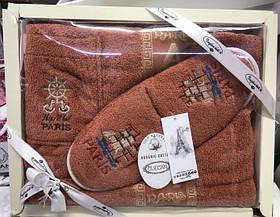 Набор Для Сауны И Бани Махровое Парео Полотенце Тапочки В Подарочной Упаковке Для Мужчины