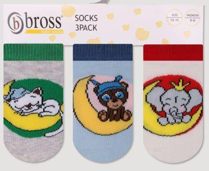 Набір 3 шт. Шкарпетки для немовлят укорочені Bross