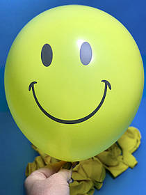 Шары Воздушные Надувные Шарики Желтые с Рисунком Смайл Улыбка Набор