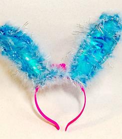 Карнавальный Ободок Светящиеся Цветные Уши Зайца с Пухом Прикол для Вечеринки Маскарад