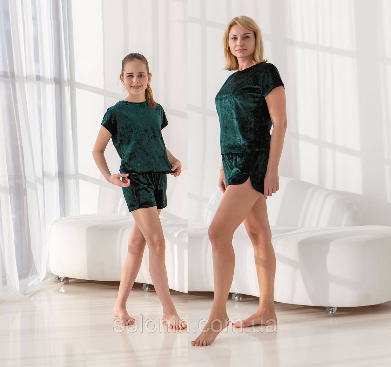 Домашні костюми для мам і дочок в стилі Family Look.