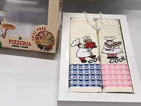 Полотенца Вафельные Кухонные Подарочный Набор 2 шт Вышивка Повар Nilteks Размер 50 х 70
