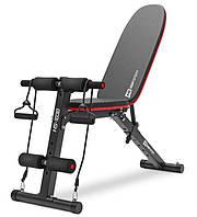 Скамья атлетическая универсальная с фиксатором для ног и эспандерами для рук до 220 кг Hop-Sport HS-1030