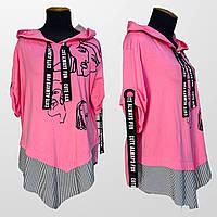 Блузка женская розовая с капюшоном Darkwin батал 20-5697