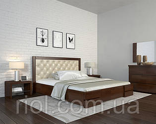 Ліжко дерев'яне двоспальне Регіна Люкс Ромб з м'яким узголів'ям