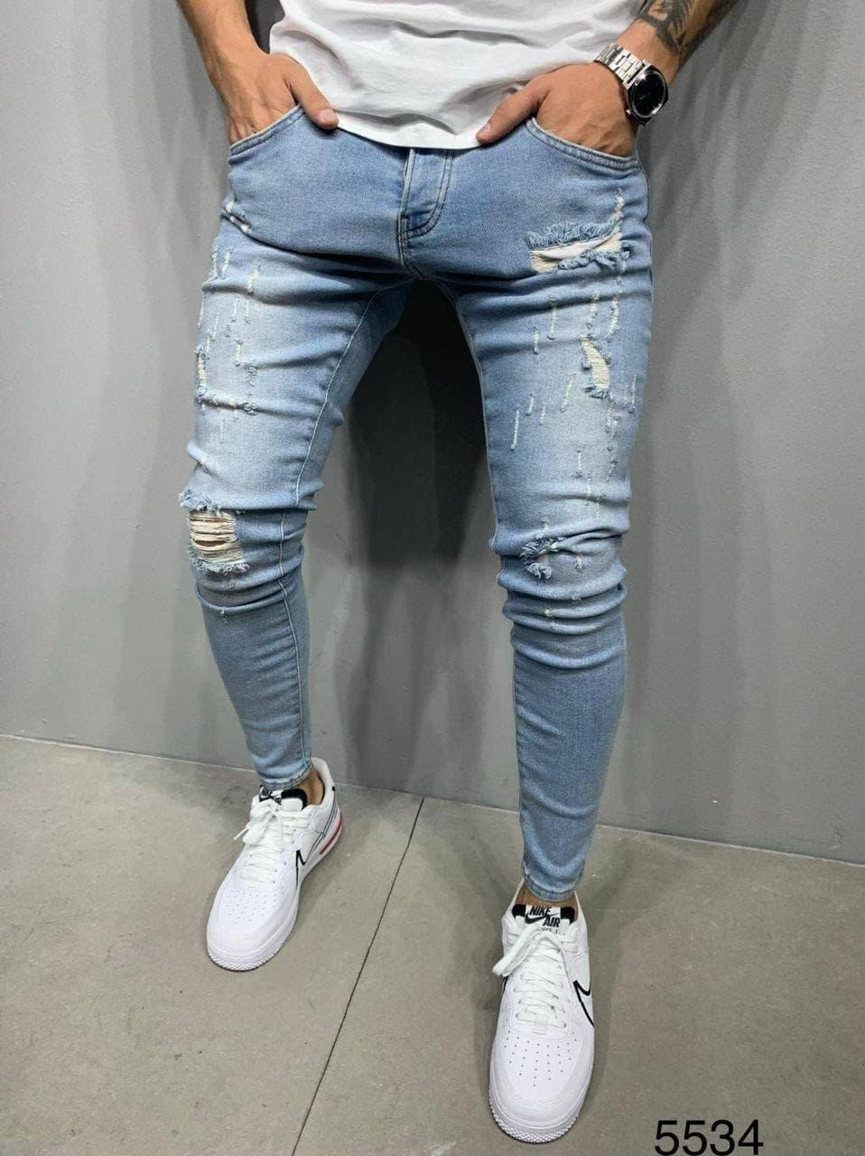 😝 Джинси - Чоловічі Джинси / чоловічі джинси блакитні з якісного котону рвані