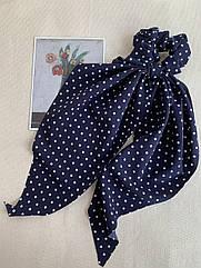 Резинка твіллі в горошок синя, жіноча резинка зі стрічкою, твилли синяя
