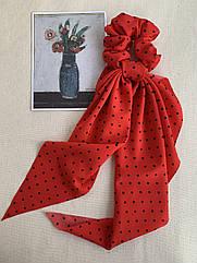 Резинка зі стрічкою червона в горошок, резинка твіллі жіноча, резинка с лентой
