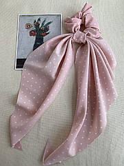 Резинка зі стрічкою рожева в горошок, резинка твіллі жіноча пудра, твилли женская
