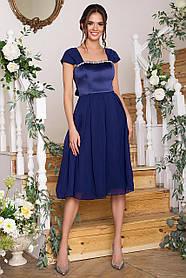 Розкішна атласна сукня з шифоном для випускного балу Розміри S, M, L, XL