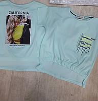 Мятная футболка топ для девочек 128