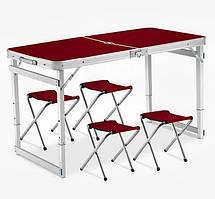 Посилений зручний розкладний стіл для пікніка та 4 стільця, коричневий