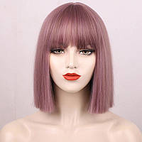 Перука Каре рожевий колір з коричневим відтінком