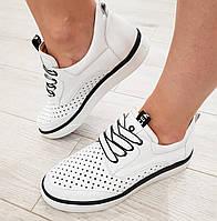 Кеды кроссовки кожаные женские весна лето на низкой подошве молодежные стильные белые 36 размер Romax 0180