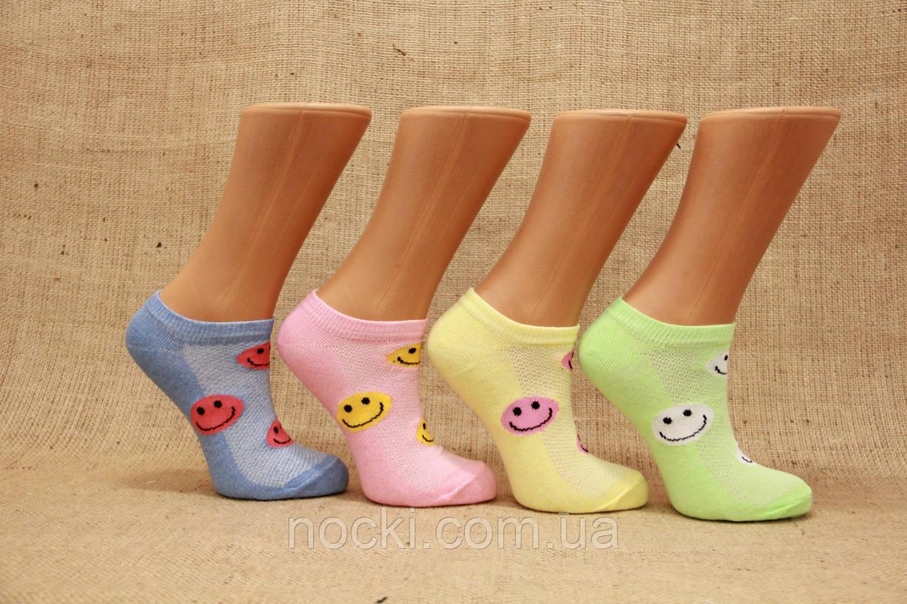 Женские носки короткие эконом класс в сеточку КЛ 38-40  цветные смайлики