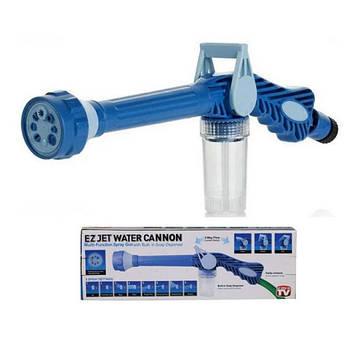 Насадка на шланг с распылителем моющих средств для мытья машины Ez Jet Water Cannon Бело-синий