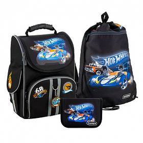 Рюкзак школьный каркасный Kite Education Hot Wheels 35х25х13 см 11.5 л Черный (SET_HW20-501S-1)