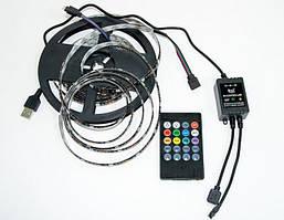Светодиодная лента RGB Music 5V 5050 5м с пультом и контролером USB с функцией распознавания музыки