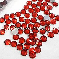 Стразы прозрачные, цвет красный,  6,5 мм