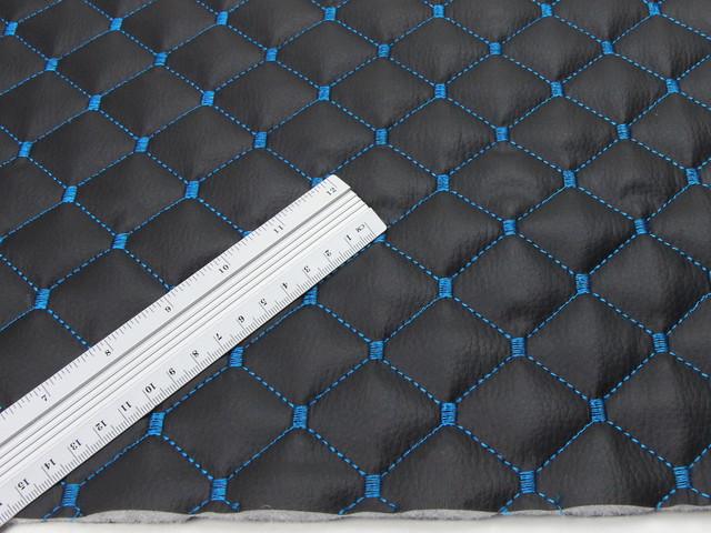 Кожзам стьобаний чорний «Ромб» (прошитий синьою ниткою) дубльований синтепоном 5 мм і флізеліном шир 1,35 м