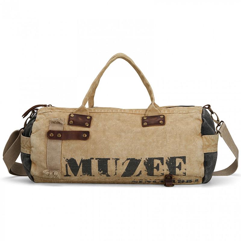 Стильная винтажная вместительная дорожная сумка Muzee ME1857 унисекс цвета хаки Сумка для багажа