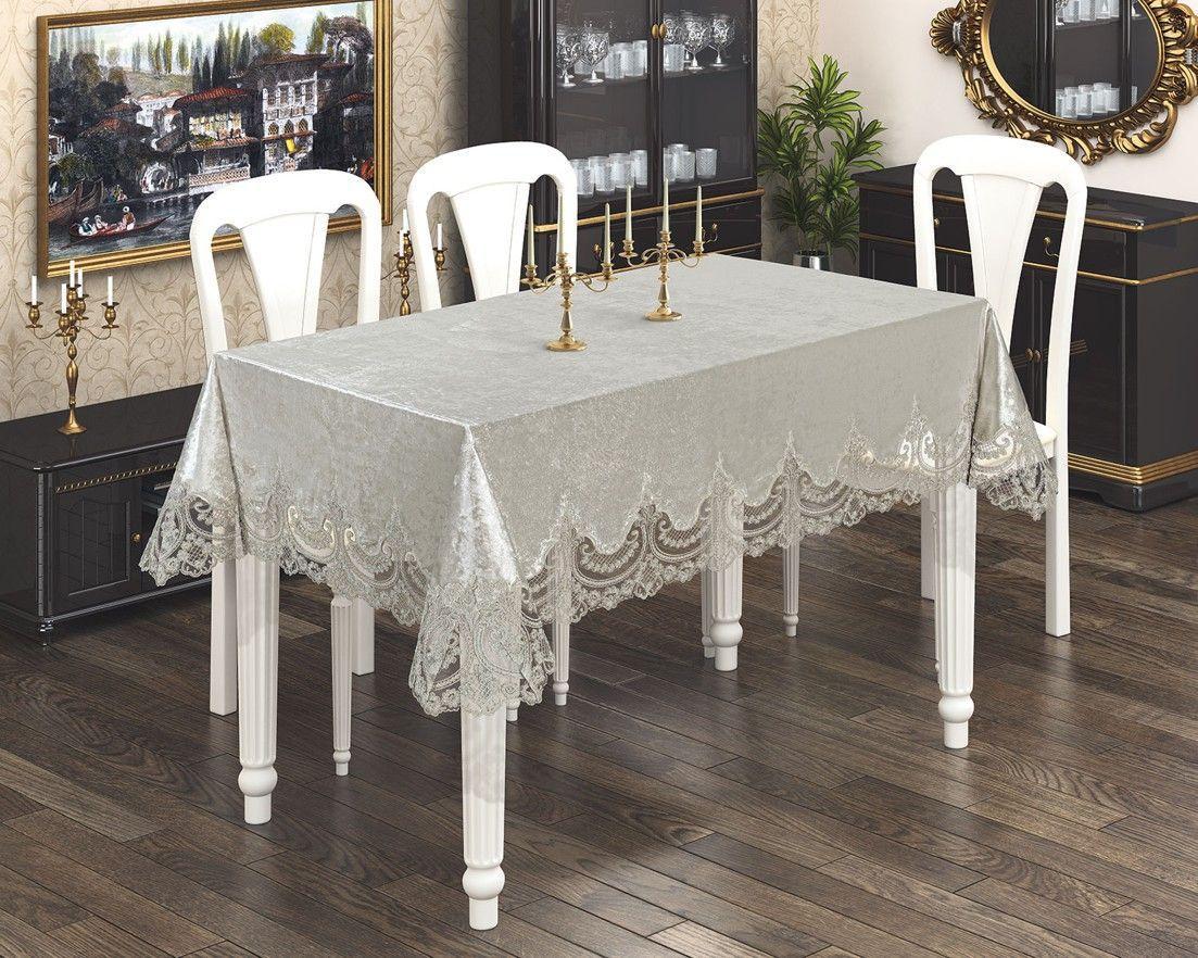 Скатерть Бархатная высокого качества на любой стол! Кремовый цвет (Под заказ)