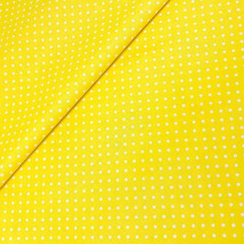 """Польская хлопковая ткань """"Горох белый на желтом 4мм"""""""