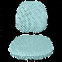 Универсальный плюшевый чехол на офисное кресло MinkyHome, натяжной чехол на резинке Бирюза (MH-042)