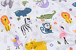 """Клапоть попліну """"Прогулянка різних тварин"""", фон білий (№3333), розмір 40*120 см, фото 4"""