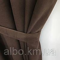 Готовые шторы на тесьме из микровелюра 200x270 cm (2 шт) ALBO Шоколадные (SH-PK-14), фото 10